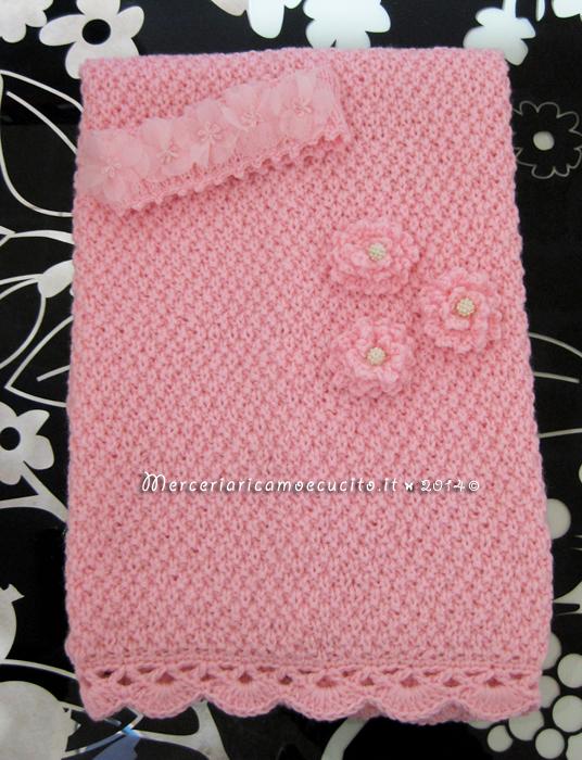 Copertina e fascia per capelli rosa in lana | GIFT - Ricamo e cucito