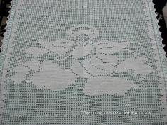 Copertine con farfalle e angioletto in cotone all'uncinetto