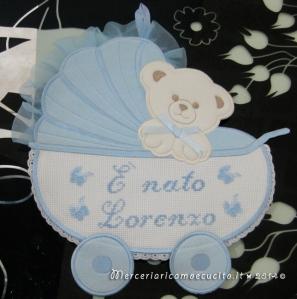 Fiocco nascita carrozzina celeste E' nato Lorenzo