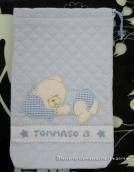 Fiocco nascita carrozzina celeste, sacchettino trapuntato con orsetto nanna e busta poia per Tommaso