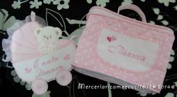 Fiocco nascita carrozzina rosa e borsa beauty per Bianca