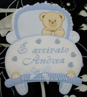 """Fiocco nascita macchina celeste """"E' arrivato Andrea"""""""