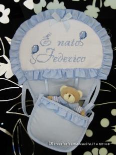 """Fiocco nascita mongolfiera celeste """"E' nato Federico"""""""