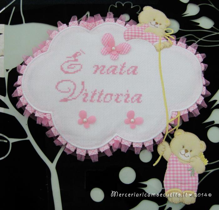 """Fiocco nascita nuvola rosa """"E' nata Vittoria"""""""
