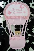 Fiocchi nascita mongolfiera, coccinella e cuore pois con orsetto per Giulia