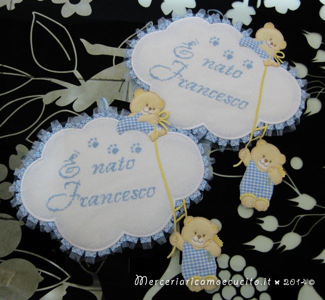 """Fiocchi nascita nuvola celeste """"E' nato Francesco"""""""