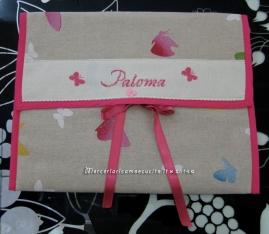 Fiocco-nascita-cicogna-rosa-E'-nata-e-busta-porta-oggetti-con-farfalle-per-Paloma-4