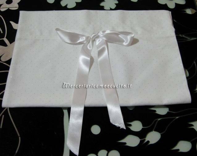 Sacchetto bianco con glitter per nascita e asilo