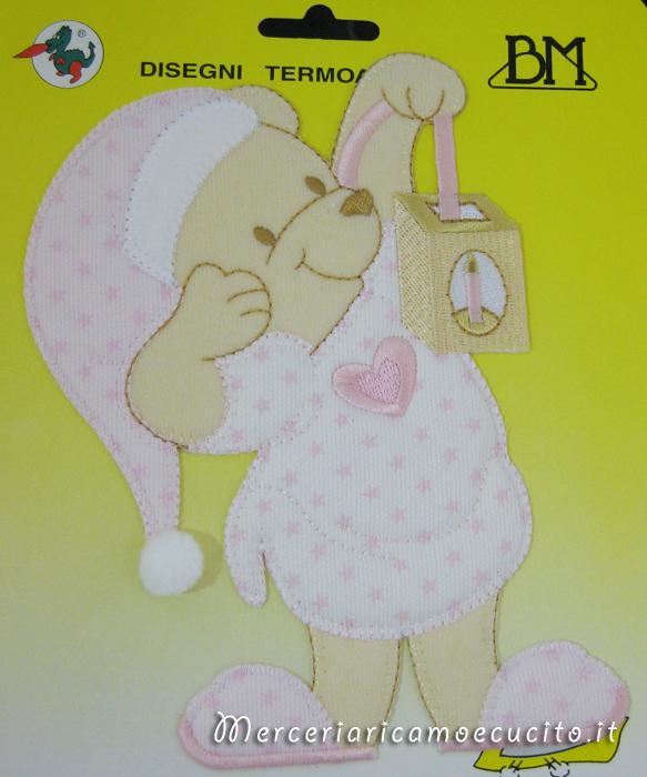 Applicazione termoadesiva orsetto con lanterna rosa