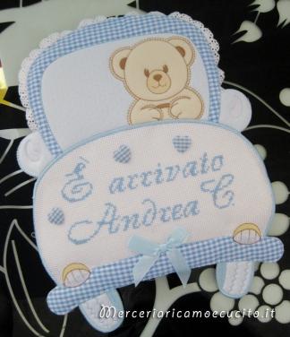 """Fiocco nascita macchina celeste """"E' arrivato Andrea C."""""""