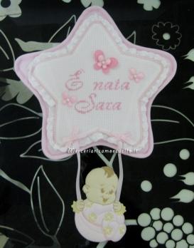 """Fiocco nascita Stella rosa """"E' nata Sara"""""""