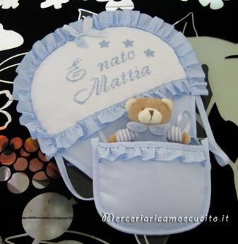Fiocchi nascita mongolfiera, cicogna e cuore per Mattia