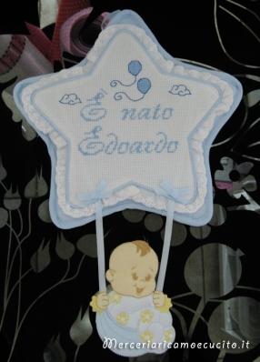 """Fiocco nascita stella celeste """"E' nato Edoardo"""""""