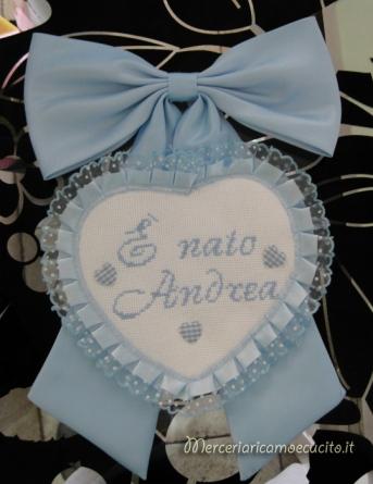 Pannelo portaggetti con glitter, bavetta e fiocco nascita con cuore per Andrea