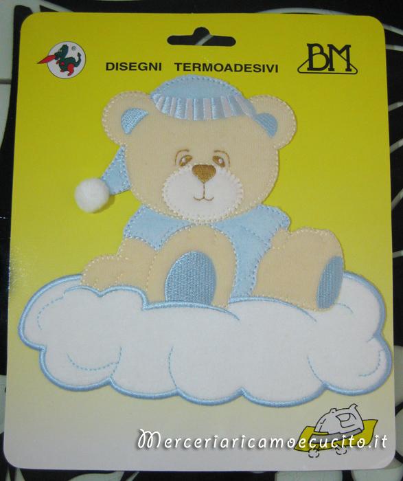 Applicazione termoadesiva orsetto celeste su nuvola