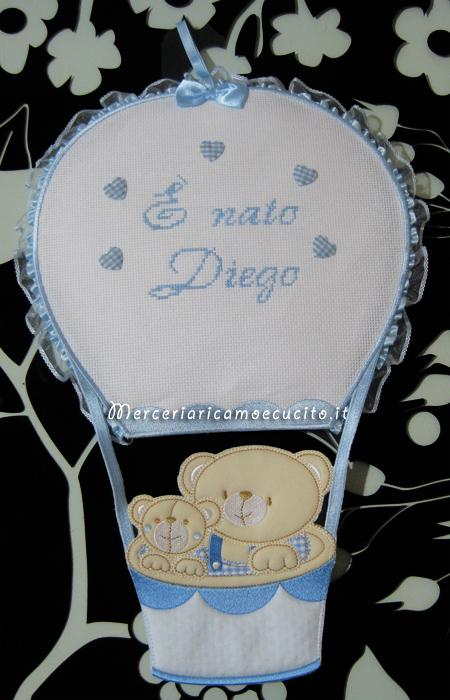 """Fiocco nascita monngolfiera con orsetti """"E' nato Diego"""""""