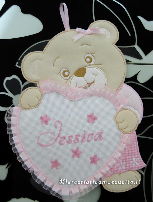 Fiocco nascita orsetto con cuore rosa per Jessica