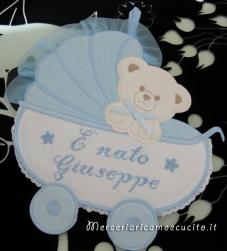 """Fiocco nascita carrozzina celeste """"E' nato Giuseppe"""""""