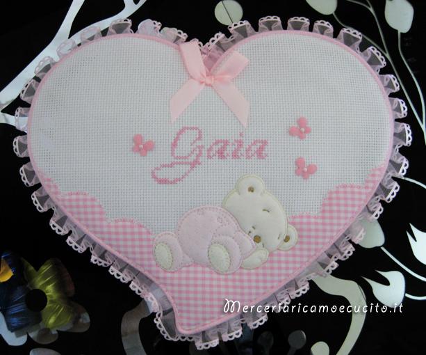 Fiocco nascita cuore rosa per Gaia