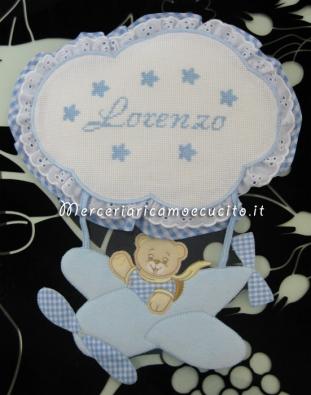 Fiocchi nascita mongolfiera e aeroplano celeste per Lorenzo