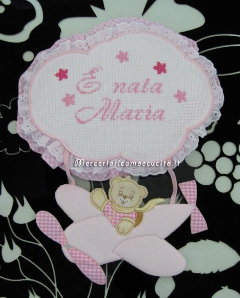 Fiocco nascita aeroplano rosa E' nata Maria