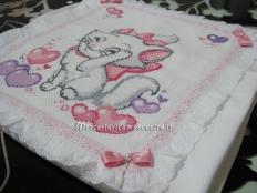 Coordinato copertina copripiumino con gatto Minou e set lenzuolino con cuori