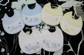 Fiocco nascita cicogna, bavette e busta portaoggetti per Rocco