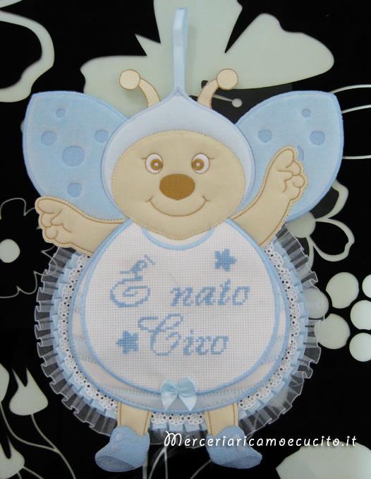 Fiocco nascita coccinella celeste per Ciro