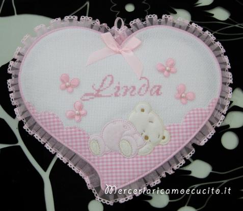 Fiocco nascita cuore rosa con orsetto per Linda
