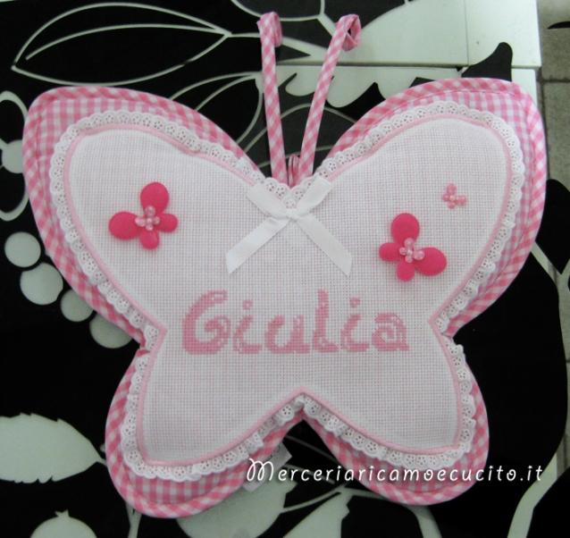Fiocco nascita farfalla e maglietta auto per Giulia