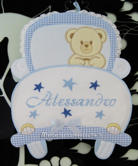 Fiocco nascita machina celeste per Alessandro e fiocco aeroplano rosa per Francesca