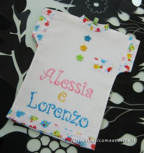"""Maglietta per auto """"Bimbi a bordo"""" per Alessia e Lorenzo"""