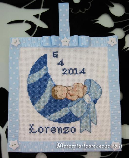Quadretto nascita per lorenzo gift for Quadretto nascita punto croce