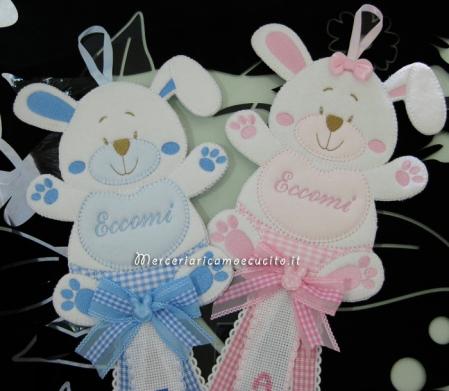 Fiocchi nascita coniglio per Francesco e Amelia