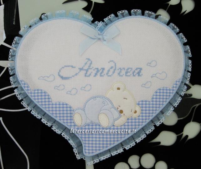 Fiocco nascita cuore celeste per Andrea
