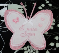 Fiocco nascita farfalla e sacchetto nascita e asilo quadrettato per Sofia