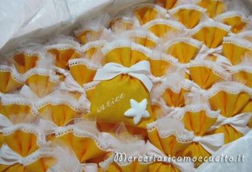 Sacchettini bomboniera portaconfetti con stella marina per Alice