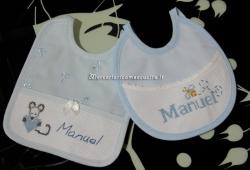Set corredino per nascita - Copertina, lenzuolino, accappatoio, fiocco nascita stella e bavette per Manuel
