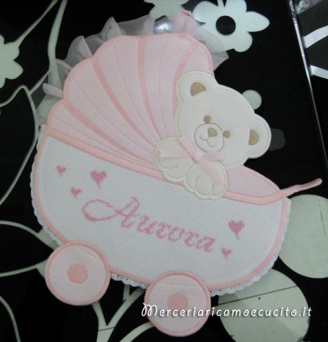 Fiocco nascita carrozzina rosa per Aurora