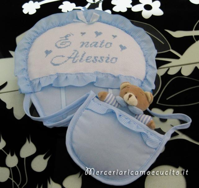 """Fiocco nascita mongolfiera celeste """"E' nato Alessio"""""""