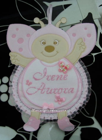 """Fiocchi nascita coccinella e nuvola rosa per """"Irene Aurora"""""""