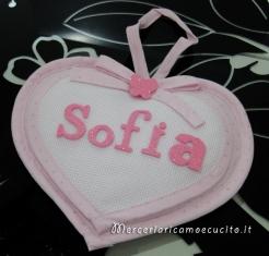 Fiocco nascita cuoricino rosa per Sofia