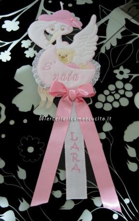 Coccarda fiocco nascita cicgogna rosa È nata per Lara