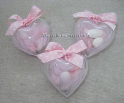 Bomboniera portaconfetti in plexiglass a forma di cuore