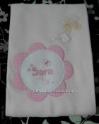 Set corredino per nascita - Lenzuolino, copertine, fiocco nascita, e bavetta per Sara