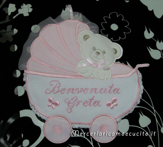 """Fiocco nascita carrozzina rosa """"Benvenuta Greta"""""""