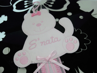 Fiocco nascita gatto rosa per Ada