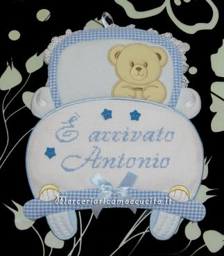 Fiocco nascita macchina celeste e orso su nuvola Sono arrivato per Antonio