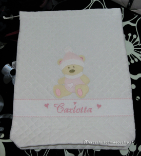 Sacchetti trapuntati nascita e asilo con orsetto freddoloso per Carlotta