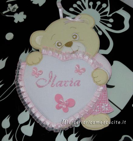 Fiocco nascita orsetto con cuore rosa per Ilaria